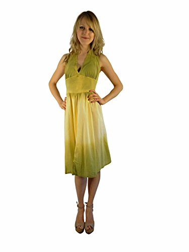 Luna Luz Double Dip Ombre Halter Dress~Celery/Banana (Large, Celery/Banana)