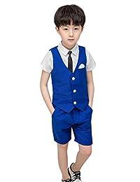 La Vogue Toddler Boys Wedding Party Gentleman Dress Suit 4 Pieces Summer Clothes Set Vest+Shirt+Pants+Necktie