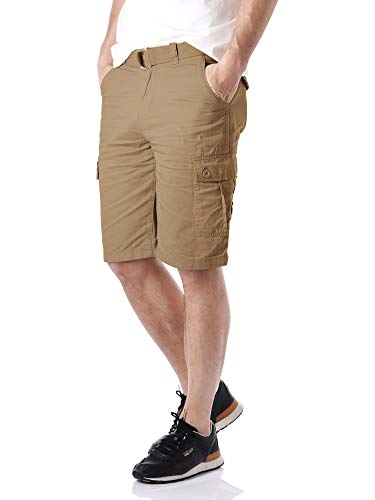 Hat and Beyond Mens Twill Cargo Shorts Belt Hiking Camping Outdoor 34 Light Coffee