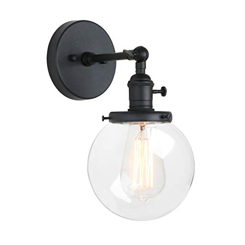 b4a6e99892dc Pathson Industrial Wall Sconce with Round Clear Glass Globe Shade, Vintage  Style Wall Lamp Farmhouse
