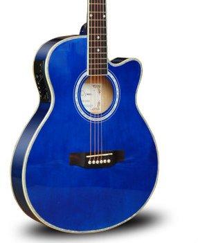 エレキアコースティックギターセット ウッド木製 特製ソフトケース付き ハンドメイド (ブルー) B00KNL0CFO  ブルー