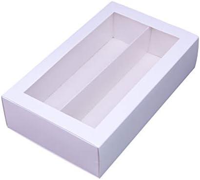 Macaron cajas Macarons caja para 12 Macaron contenedor Macaroon cajas de embalaje con ventana transparente (blanco, 10 unidades por paquete) 7,3 pulgadas × 2 pulgadas × 2 pulgadas: Amazon.es: Hogar