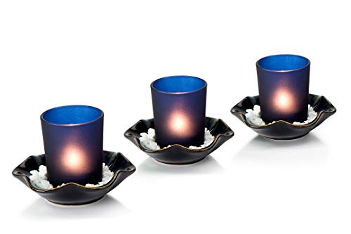 Opps Decorative Frosted Glass Candle Holders with Special Ceramic Tray - Set of 3 (Blue)