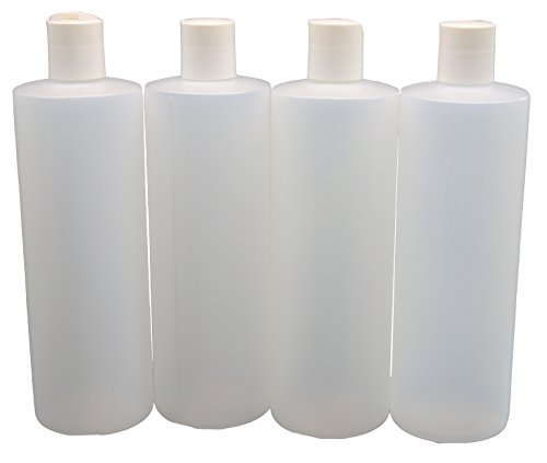 JS Plastic Bottle with Squeeze Top - 16 Ounce - 4 Pack - 1 Pint Empty Refillable Liquid Storage and Dispensing Containers with Disc Flip Lids