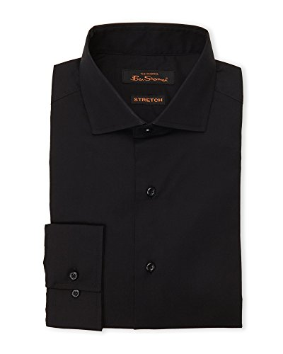 Ben Sherman Men's Solid Stretch Shirt - Kings Tailored Fit (15 - 34/35, Black)