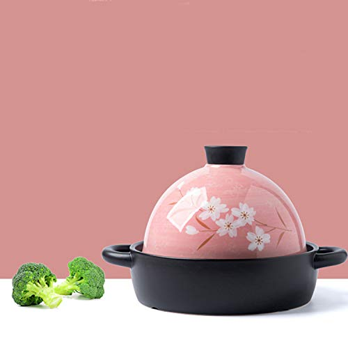 1.9L Pink Hand-painted Flower Ceramic Casserole, Moroccan Tagine, Open Fire Stew Pot Micro-pressure Cooker