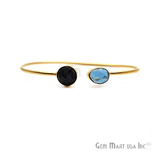 Gold Bangle, Adjustable Bracelet, Bangle Bracelet, Black Onyx Bangle, Iolite Bangle, GemMartUSA (DSBA-19233)