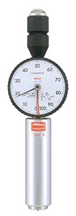 """Mitutoyo 811-333 Dial Durometer Tester for Shore D Scale, 0.7"""" Diameter Pressure Foot, Sharp Point Tip"""