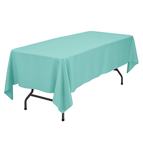 Tiffany Folding Bar - VEEYOO Rectangular Tablecloth 100% Polyester Oblong Table Cloth for Bridal Shower - Solid Soft Oval Table Cover for Wedding Party Restaurant Party Buffet Table (Turquoise, 60x102)