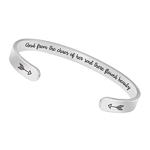 BTYSUN Bangle Bracelets Birthday Gifts for Women Men Inspirational Cuff Bangle Personalized Mantra with Gift Box