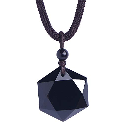 MOHICO Black Obsidian Hexagram Necklace Natural Stone Obsidian Star Pendant Lucky Love Necklace for Men ()
