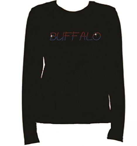 Rhinestone Buffalo Football Long Sleeve-Round Neck-Black 42T3 (XL, BLACK) (Buffalo Round Balls)