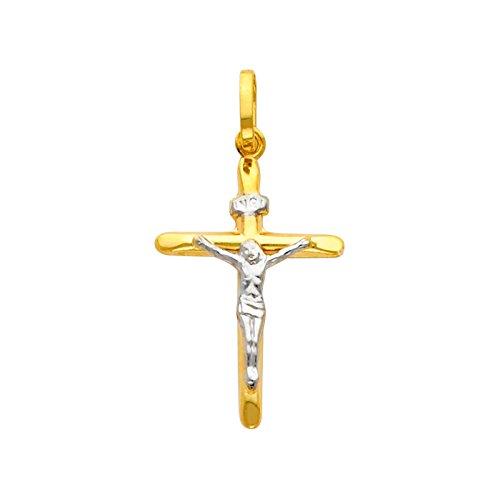 Charmeing 14 ct 585/1000 Deux Tons Crucifix Pendentif (Livre Avec un 45 cm Chaine)