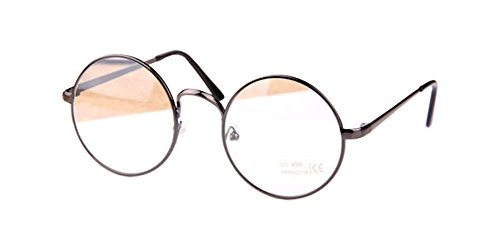 Gun Gray Retro Big Round Metal Frame Clear Lens Glasses Designer Nerd Spectacles - Big Round Spectacles