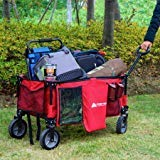 Durable,Convenient,Folds for Easy Storage Ozark Trail Folding Wagon Red,Perfect for Hauling All Your Essentials Around the Campsite With 7-inch Wheels and Double Layer Fabric