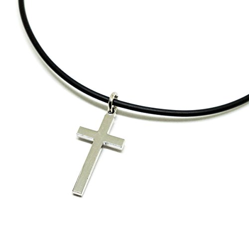 Cross Necklace for Men Women Stainless Steel Pendant 18 Inch PVC 2mm Necklace - Kelly Ripa Halloween Costumes