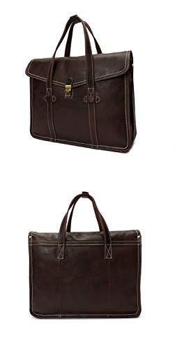 Handbag Bandoulière fonction Coffee Capacité À Hommes Sac color Brown Tote Grande Business Pour En Ploekgda Cuir Multi Véritable 6gBUEwqg