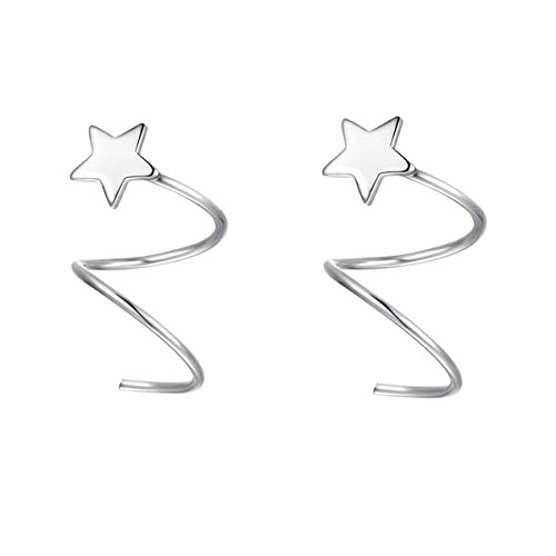 SLUYNZ 925 Sterling Silver Star Earrings for Women Teen Girls Fashion Star Wrap Earrings (Color 1)