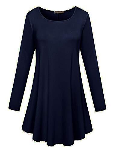 8e07a78564 ACEVOG O-Neck Long Sleeve Striped Casual Long Tunic Top Basic Women Shirts