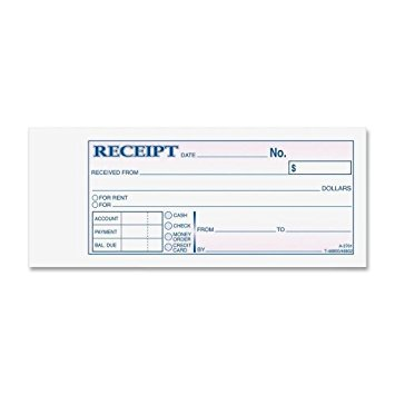 Receipt Book, 2 3/4 X 7 3/16, Three-Part Carbonless, 50 Forms [Set of 2]