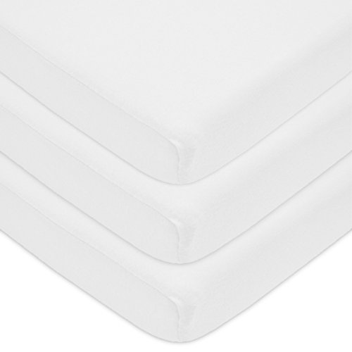 American Baby Company 3 Pack 100% Natural Cotton Jersey Knit Fitted Bassinet Sheet, White, Soft Breathable, for Boys and Girls