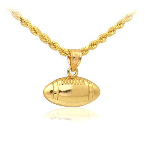 (Mr. Bling 10k Yellow Gold Ball of American Football Pendant (0.57