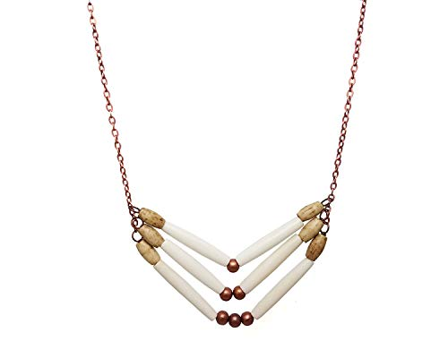 - White 3 Row Buffalo Bone Hairpipe Beads Tribal Breastplate Style Necklace