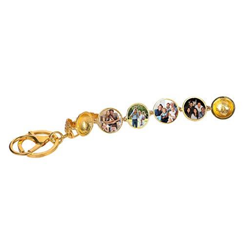 Holder Keyring & Keychain Key,Angel Wings Geometric Round Multilayer Phase Box Key chain Pendant for women men girls ()