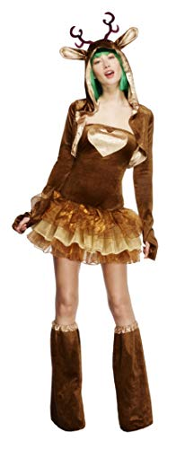 Smiffy's Adult Women's Fever Reindeer Costume, Tutu Dress With Detachable Clear, Brown, Medium ()
