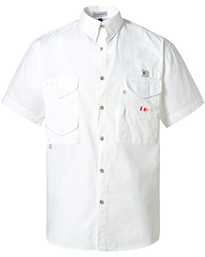 Alimens & Gentle Short Sleeve Wicking Fabric Sun Protection Fishing Casual Shirts - Color: White, Size: L