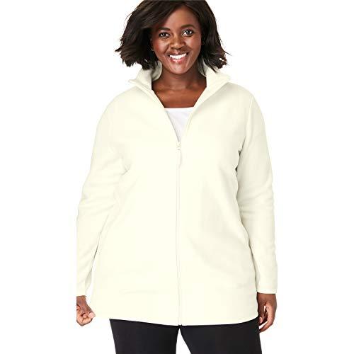 Woman Within Women's Plus Size Zip-Front Microfleece Jacket - Ivory, 1X ()