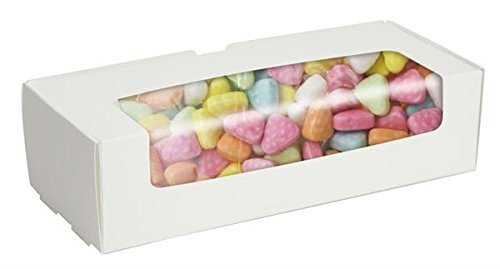 2 lb WHITE Tuck Top Candy Box with Window - Case of 250