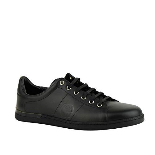 Gucci Women's Black Leather Sneaker with Interlocking G Emblem 329841 1000 (40 G / 10.5 US)