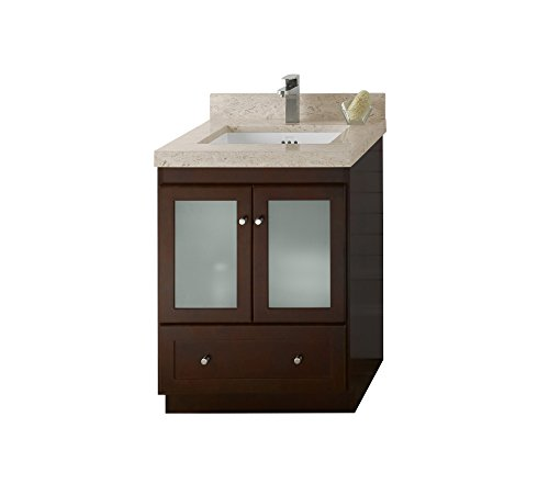 RONBOW Shaker 25 inch Bathroom Vanity Set in Dark Cherry, Single Bathroom Vanity with Top in Marble Cream Beige with Single Faucet Hole, White Ceramic Vessel Sink 080824-1-H01_Kit_2