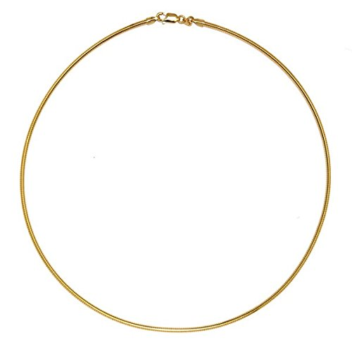 (18k Yellow Gold 2mm Round Omega Necklace - 18 Inch)