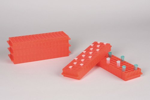 Bel-Art F18845-0015 Reversible PCR and Microcentrifuge Tube Rack; 0.2ml or 1.5-2.0ml, 80 Places, Polypropylene, Fluorescent Orange (Pack of 5) by SP Scienceware (Image #2)