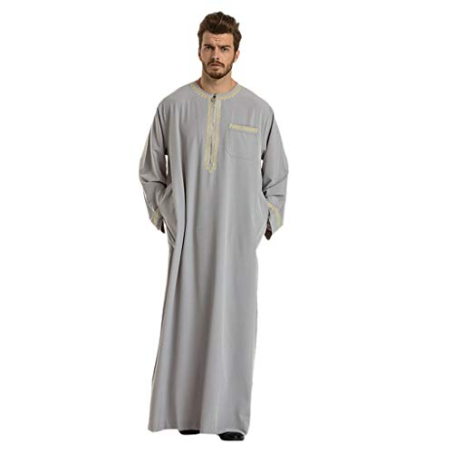 Huazi2 Men Long Sleeve Islamic Muslim Middle East Maxi Robes Pantsuit Kaftan Gray