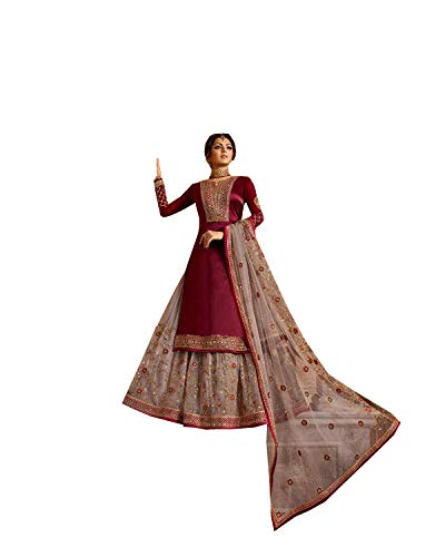 Kameez Salwar Red - Indian/Pakistani Ethnic wear Georgette Straight Salwar Kameez for Womens (Red, MEDIUM-40)