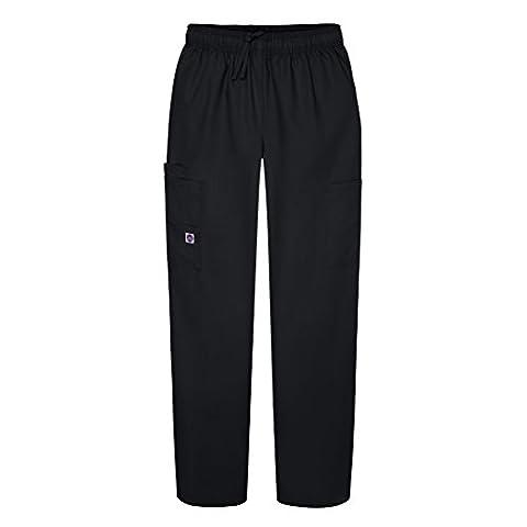 Sivvan Women's Scrubs Drawstring Cargo Pants (Available in 12 Colors) - S8200 - Black - XL - Elastic Cargo Scrub Pants