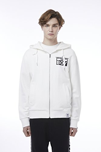 BOY London Unisex (S,M,L,XL) 18SS Eagle On Square Zip Up Hoodie - Black,White,Grey New_(BH1TC160) (White, Small) by BOY London