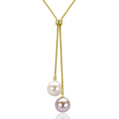 18k Yellow Gold Plated Silver 10-10.5mm White Pink Freshwater Cultured Pearl Popcorn Chain Necklace, 16
