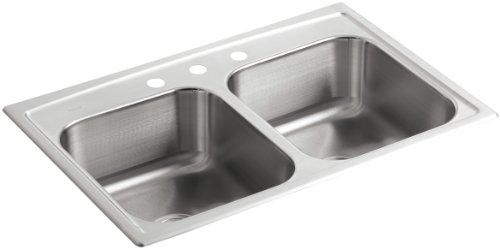 Double Hole Bowl Self Rimming (KOHLER K-3346-3-NA Toccata Double Equal Self-Rimming Kitchen Sink, Stainless Steel)