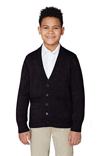 Sweater Cardigan Uniform School (French Toast Little Boys' V-Neck Anti-Pill Cardigan, Black, Small/6-7)
