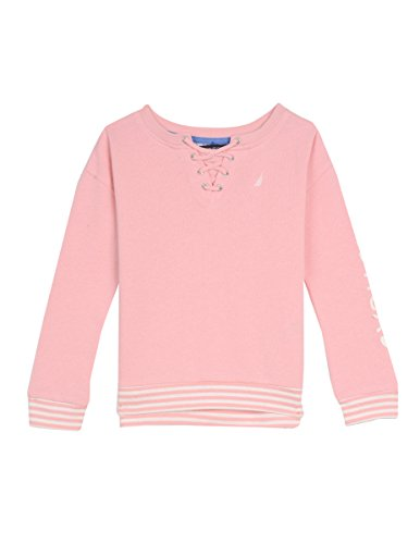 Nautica Little Girls' French Terry Top With Lace-up Front, Light Pink, 4