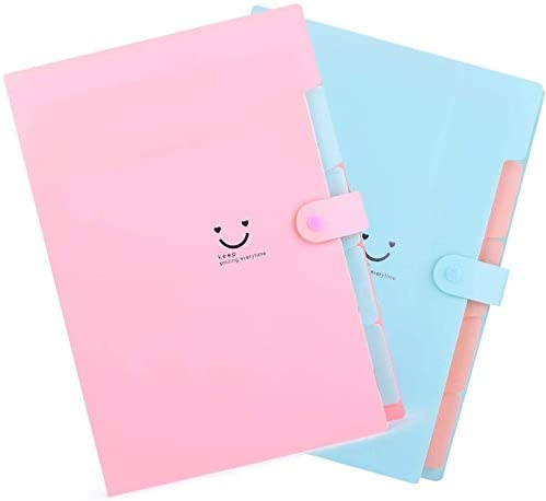 Corslet Certificate Expanding File Folders for Documents Large Size A4 Paper Holder Organizer School Office Home Multicolor with 5 Pockets (2-Pack)