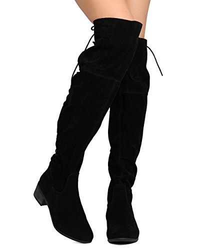 Breckelles GA28 Women Faux Suede Over The Knee Back Lace Up Riding Boot - Black (Size: 8.5)