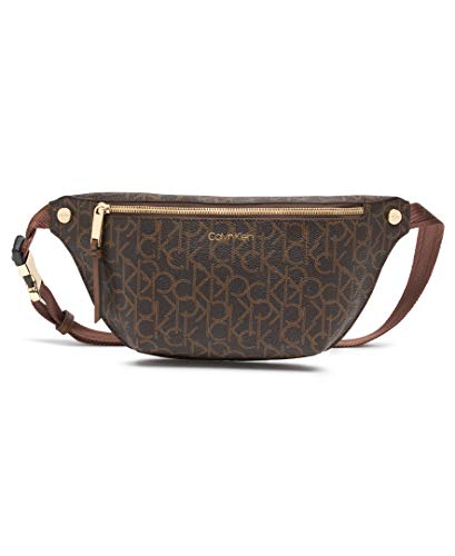 Calvin Klein Rachel Signature Belt Bag, Brown Saffiano Logo