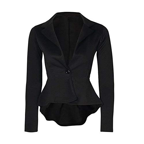 Shift Jacket Leather (New Women's Ladies Crop Frill Shift Slim Fit Peplum Blazer Jacket Coat)