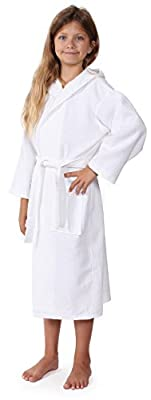 Indulge Linen Kids Waffle Bathrobe, Hooded, 100% Cotton, Diamond Pattern, Made In Turkey, Spa Party Robe For Girls
