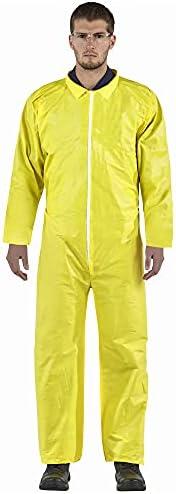 AMZ Disposable Hazmat Suit. Yellow X-Large 82 GSM Polyethylene Polypropylene Paint Coverall. Full Body Lightwe